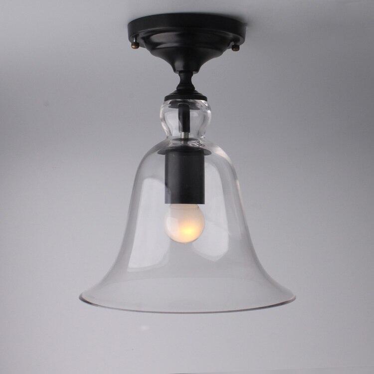 ФОТО Modern american loft vintage ceiling light like a bell with glass shape E27 base