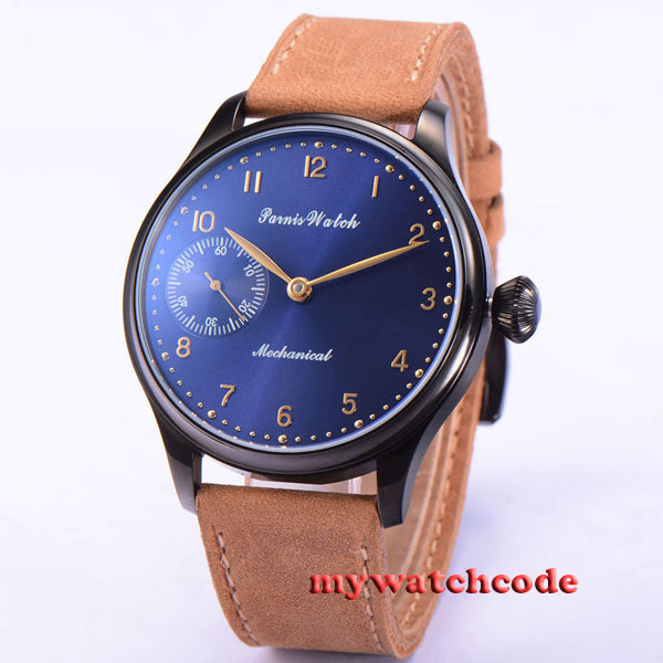 parnis blue dial black PVD case 6497 movement hand winding mens wrist watch 506 44mm parnis rose gold case black dial blue luminous 6497 movement hand winding mens watch