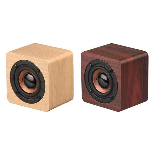 Us 135 30 Offaliexpresscom Buy Q1 Mini Wooden Bluetooth Speaker Wireless Subwoofer Strong Bass Powerful Sound Box Music Magic Cube For