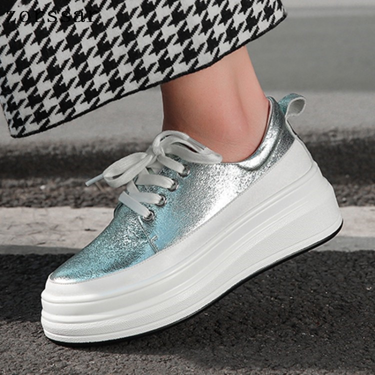 2019 Chaussures Up argent Pour Plate Femme Mode Mocassins Peu Dentelle Profonde Sneakers Dames forme Printemps Rose Plat Creeper Femmes 6gY7yfb