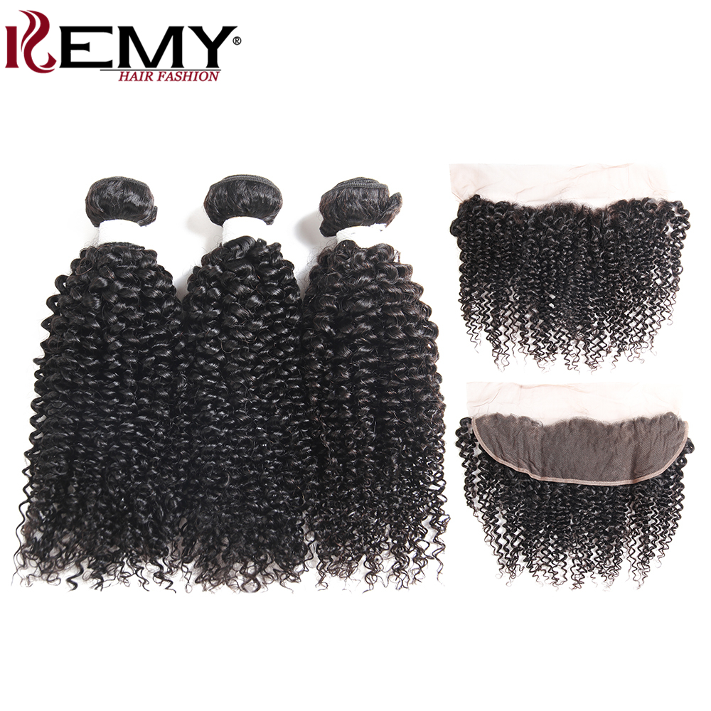 KEMY HAIR Kinky Curly Brazilian Human Hair Weave Bundles Natural Color 3 Bundles Human H ...