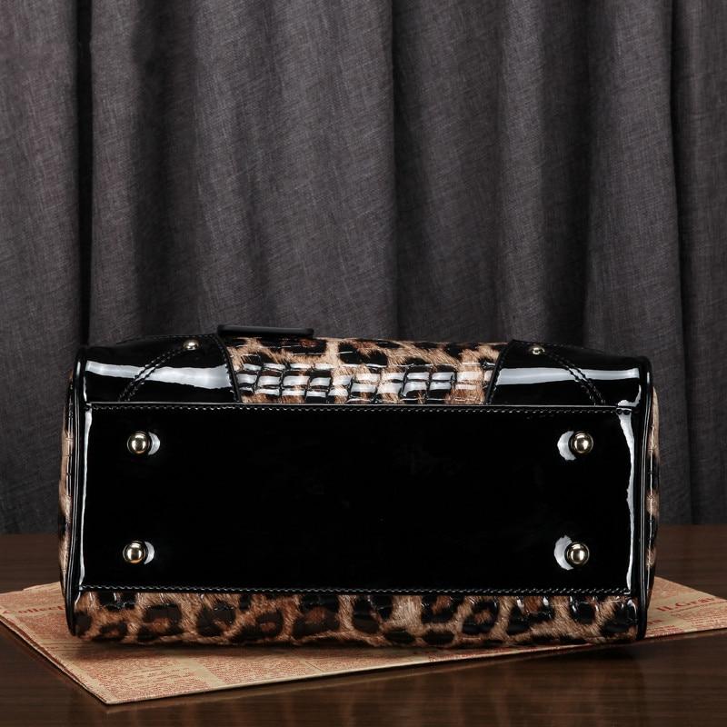 Umhängetasche Shell Beutel Leder Taschen Frauen Damen Gedruckt Große Schulter Muster ~ 18b58 Weibliche Tote Leopard Handtasche Echtem Aus HxUgWB