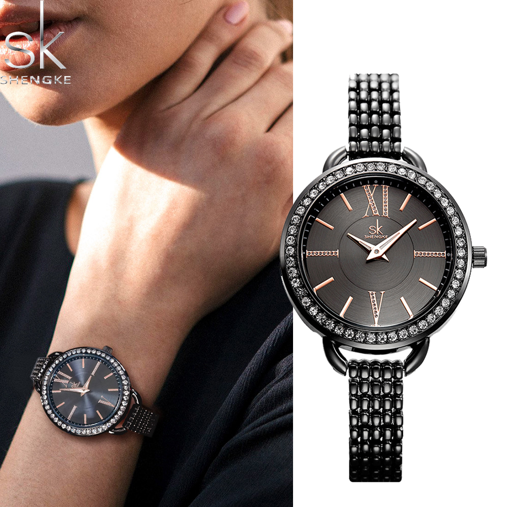 Shengke Luxury Bracelet Watch Gift Women Fashion Creative Quartz Ladies Clock Stainless Steel Waterproof Wristwatch Montre Femme