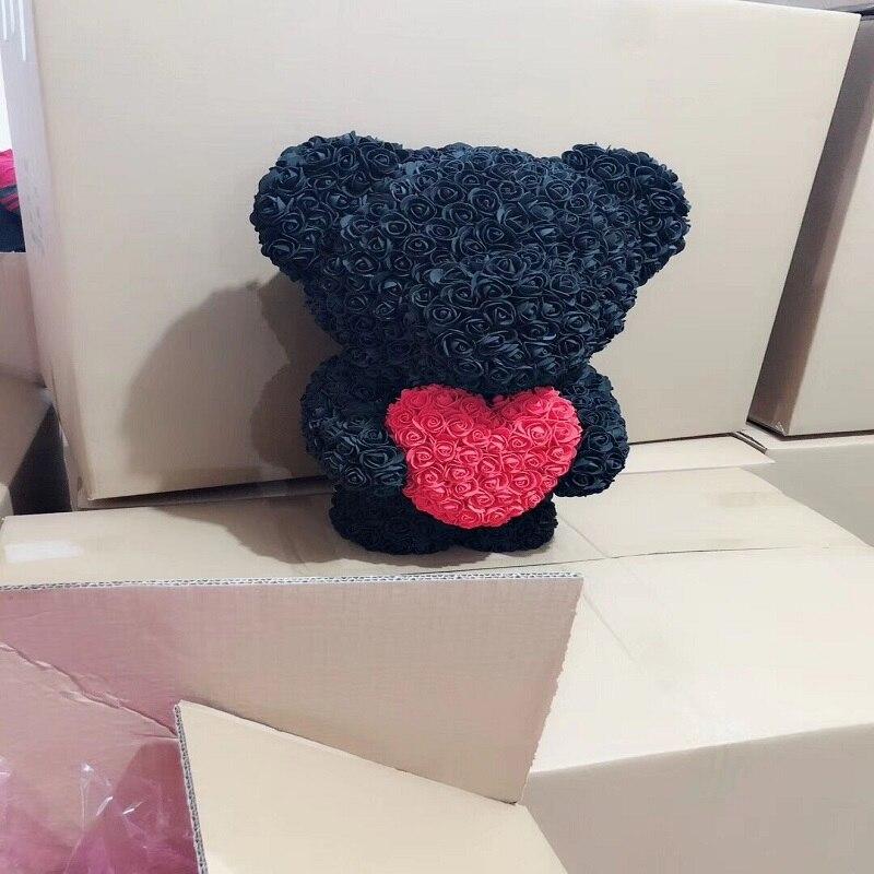 53 CM high Rose bear Valentines Gift preserved fresh flower romance artificial rose toy of flower Women's Gift flower bear - 5