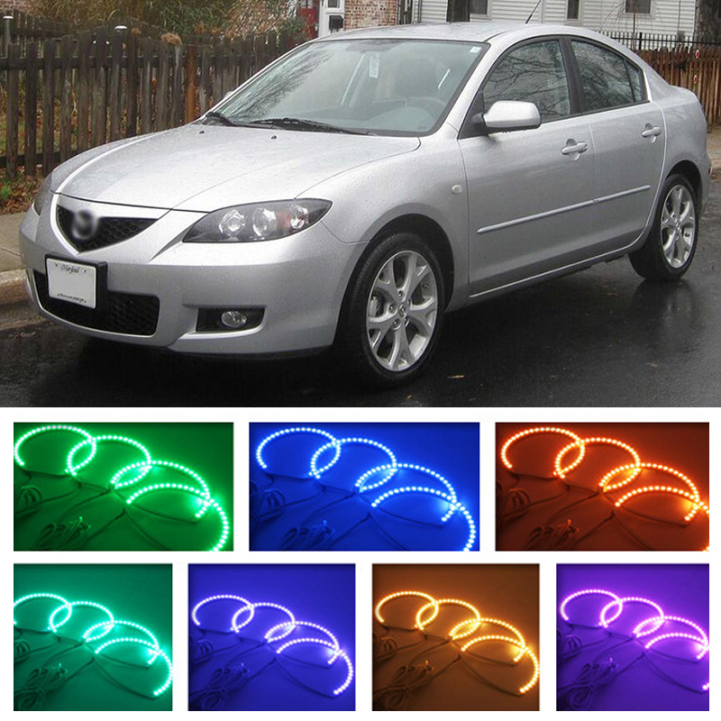 for mazda 3 2003 2004 2005 2006 2007 2008 2009 RGB LED headlight rings halo angel demon eyes with remote controller for acura tsx cl9 2004 2005 2006 2007 2008 excellent multi color ultra bright rgb led angel eyes kit halo rings
