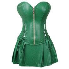 Sexy Corset Dress Phụ Nữ của Faux Leather Overbust Corset Bustier với Mini Skirt Poison Ivy Trang Phục Màu Xanh Lá Cây Cộng Với Kích Thước S 6XL