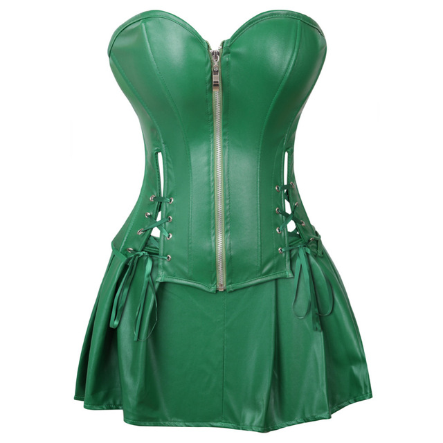 d5d38b8af06e3 Sexy Corset Dress Women s Faux Leather Overbust Corset Bustier with Mini  Skirt Poison Ivy Costume Green