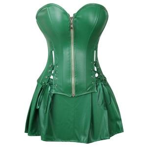 Image 1 - Sexy espartilho vestido feminino de couro falso overbust espartilho bustier com mini saia veneno ivy traje verde plus size S 6XL