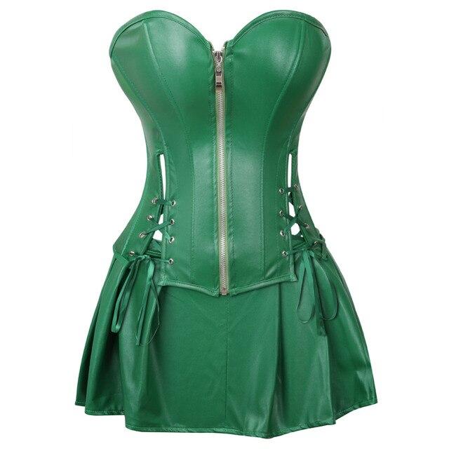 Sexy espartilho vestido feminino de couro falso overbust espartilho bustier com mini saia veneno ivy traje verde plus size S 6XL