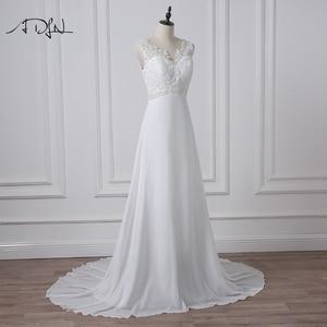 Image 3 - ADLN מלאי שיפון חוף חתונת שמלות לבן/שנהב Boho כלה שמלת Vestidos דה Novia V צוואר חרוזים בתוספת גודל כלה שמלה