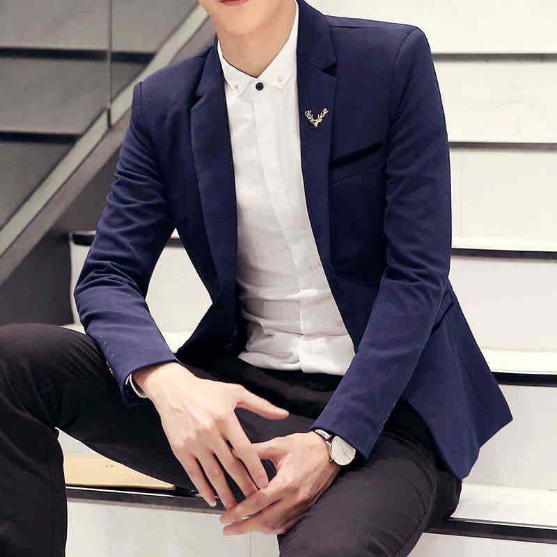 Fashion knitwear Slim small suit men's suits men's jackets Slim spring new teen  Men  Blazer