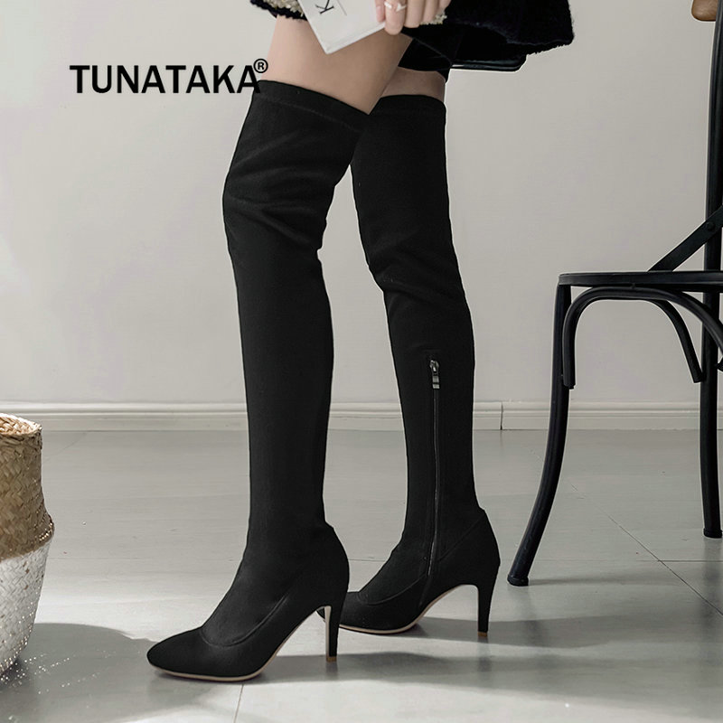 Flock Sexy Thin High Heel Over The Knee Boots Fashion Side Zipper Pointed Toe Thigh Boots Winter Women Elastic Boots women side zipper sexy thin high heel over the knee boots fashion pointed toe warm winter nightclub shoes red black white 2018