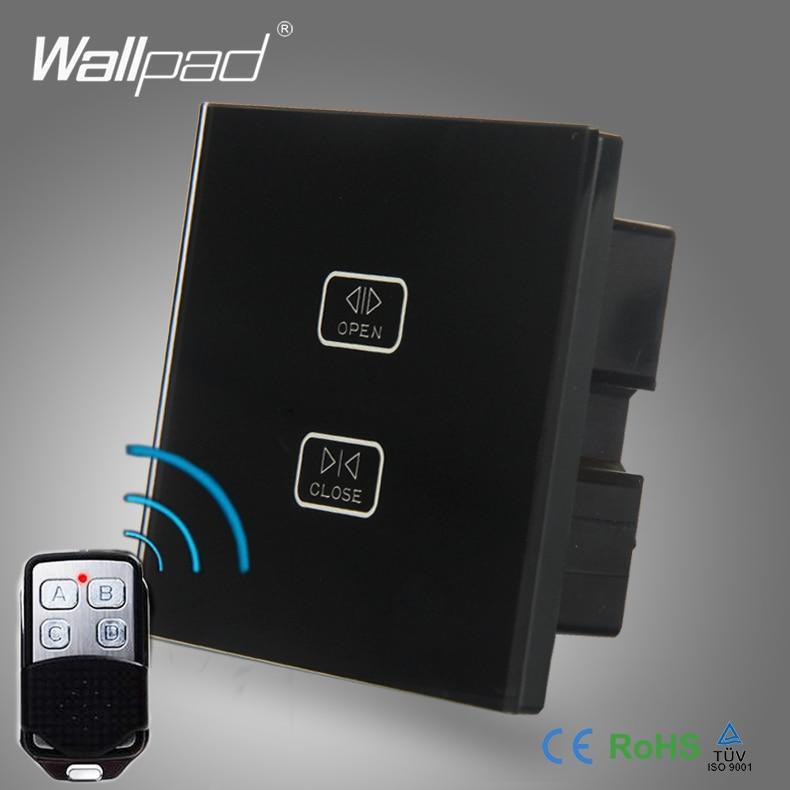 цена на 2pcs 2 Gang 2/3/4 Way WIFI Curtain Wallpad Black Glass Wireless Gateway WIFI Remote Touch Shutter Window Controlled Wall Switch