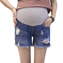 Summer Hole Jeans 2017 New Tassel Maternity Shorts Fashion Ripped Pantalones De Maternidad Care Belly Denim Short Pants PLAMTEE(China)
