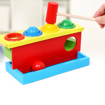 Montessori Wooden Children's Noise Maker Knock Ball Color Matching Tapping Piling Toy Parent-child Interactive Playing Table Toy