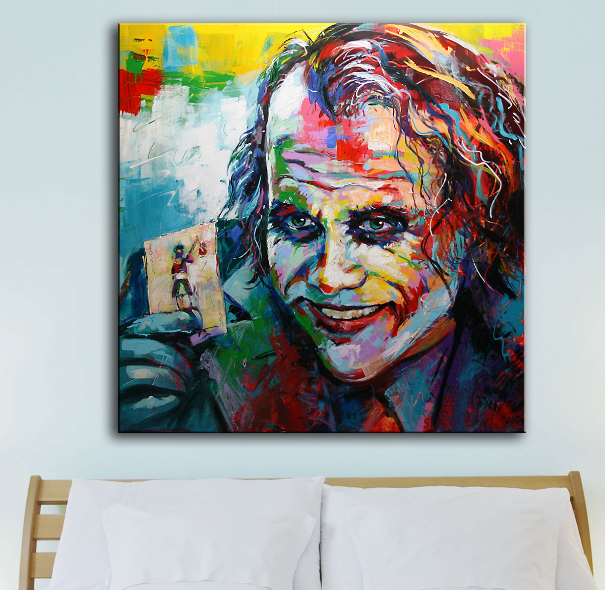 Us 7 02 32 Off Large Size Print Oil Painting Wall Painting The Joker Pop Art Home Decorative Wall Art Picture For Living Room Painting No Frame In