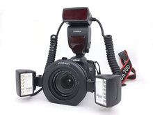 Yongnuo – Flash Macro Speedlite YN24EX E TTL Twin, pour appareils photo Canon avec 2 têtes de Flash + 4 anneaux d'adaptation