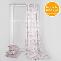Pastoral Design Printed 3 Bloom Light Purple 100 Cotton Curtains For Bedroom Accept Customized Size
