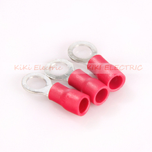 цена на 1000pcs/lot Red Circular Pre-insulating Terminal RV1.25-4L Ring Copper Terminal TO-JTK type 0.5-1.5mm2 Cold Press Wire Connector