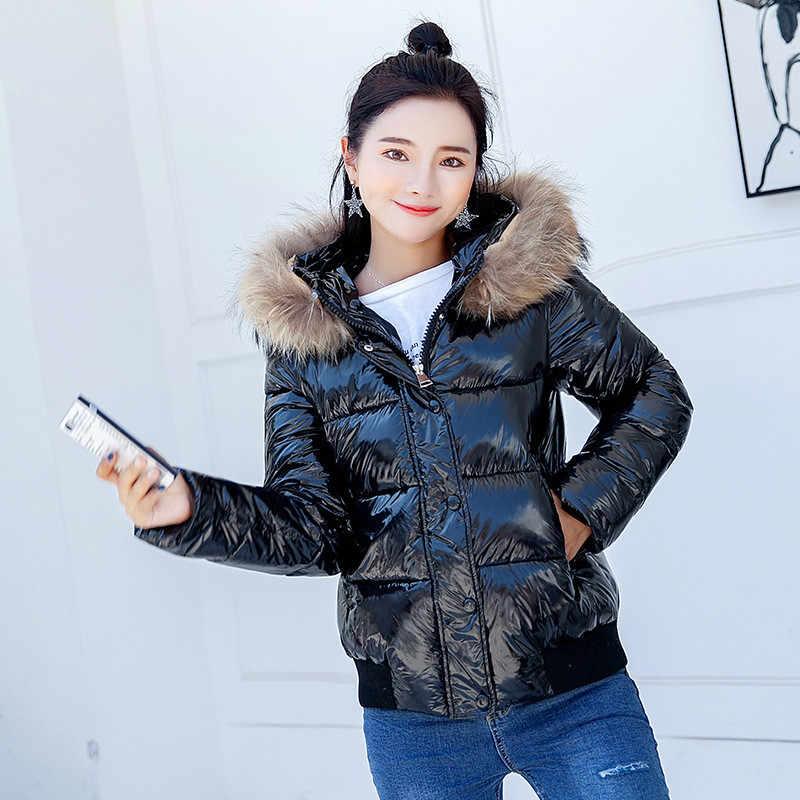 523e2f6fe Yaxez 2018 Bright Short Down Cotton Puffer Jacket Winter Women fur hood  coat Thick Warm Bread Parka Women Shiny Winter Outerwear