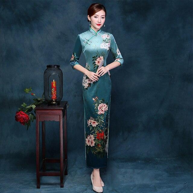 cef626111 2017 Autumn Winter Qipao Long Cheongsam Dress Green Cheongsams Velour  Traditional Chinese Oriental Dresses Qi Pao