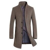 Yeni Uzun Yün Ceket Erkek Moda Standı Yaka Mont Ceket yün ve Karışımları Kış Ceketler Adam Yün Palto 2017 Uzun rüzgarlık