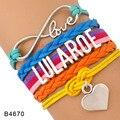 (10 Pieces/Lot) Infinity Love Lularoe Heart Charm Wrap Bracelet Hot Pink Aqua Orange Multilayer Leather Cuff Wrist Band Jewelry