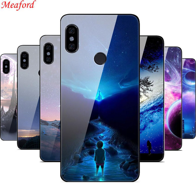 huge discount e64cd 5f6ba US $3.02 20% OFF|For Xiaomi Redmi Note 5 Pro case 5.99 Luxury Tempered  Glass PC back cover for Redmi note 5 pro phone case soft silicone frame -in  ...