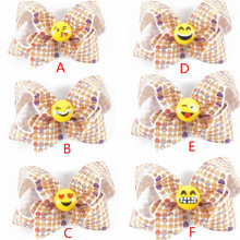 200pcs/lot Hair bows,Girls Emoji hair bow  emoji Hair Clip Accessory