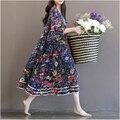 Nuevo estilo de las mujeres de gran tamaño MM manga de la hoja del Loto vestido de Algodón vestido de maternidad serie Sen femenino falda de flores