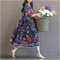 new style  large size women MM Lotus leaf sleeve Cotton dress maternity dress Sen series female floral skirt