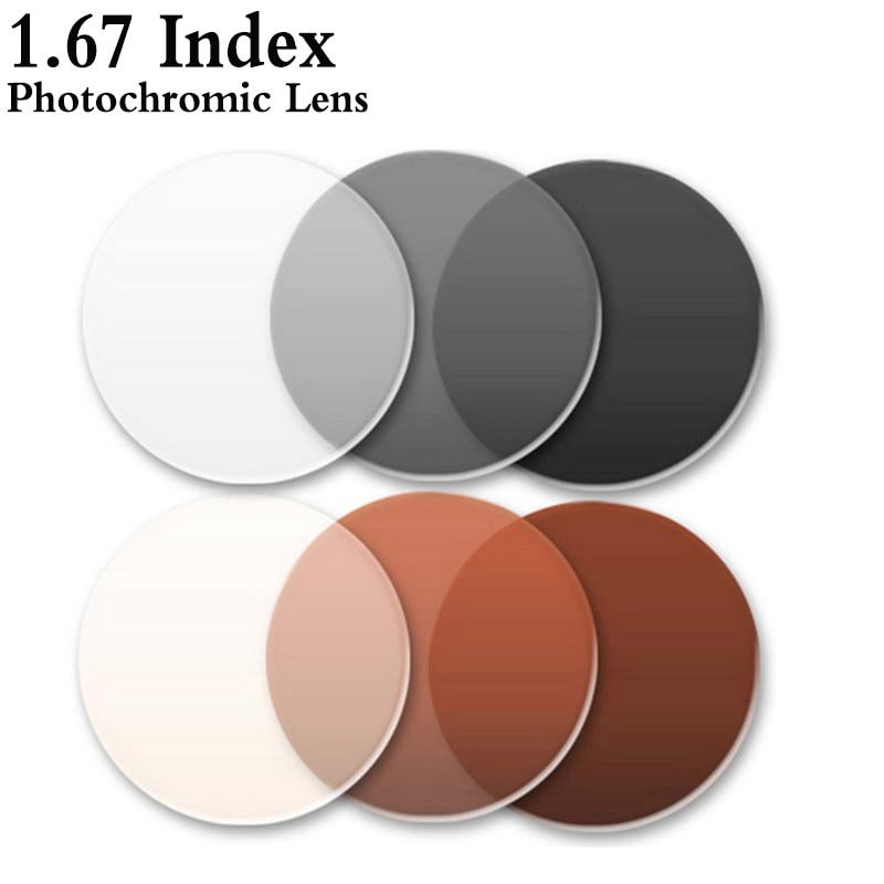 1.67 Index Ultra Mince Asphérique Photochromique Objectif CR-39 Prescription Myopie Presbytie Lunettes Lentille Anti-Rayonnement RS143