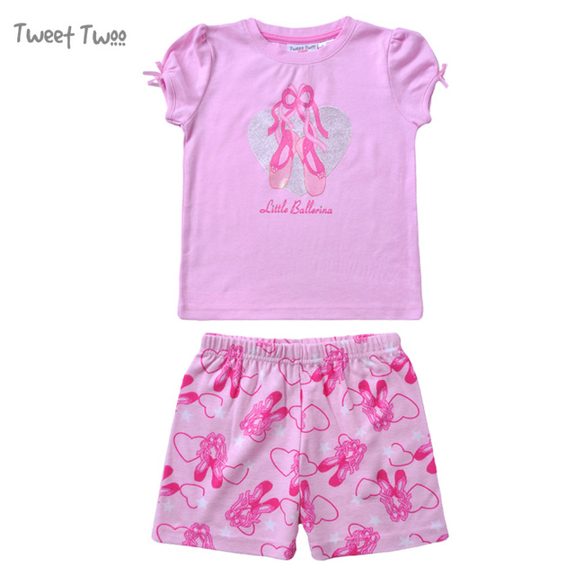 tweet twoo ballerina story little girls pajamas set gift summer style o neck top