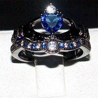 Choucong Gioielli Claddagh 925 Argento e Nero oro Blu 5a Zircone Pietra di Fidanzamento Wedding Bands ring for women Size 5-10 regalo