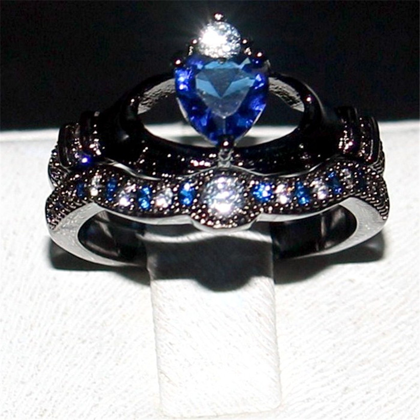 choucong Jewelry Claddagh 925 Silver&Black gold Blue 5a Zircon Stone Engagement Wedding Bands ring for women Size 5-10 gift