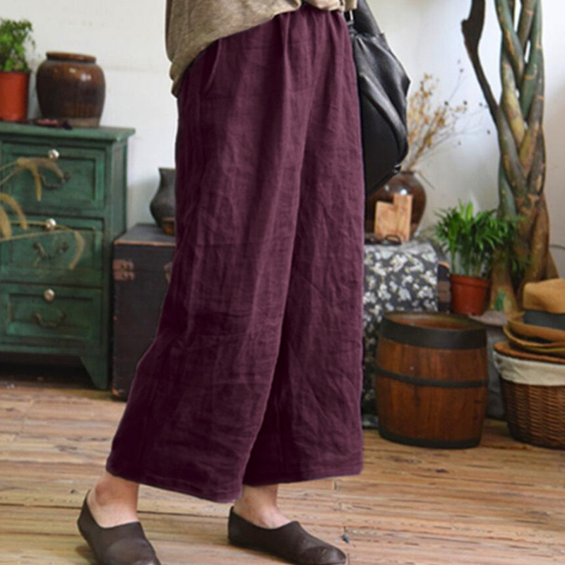 2018 New Women Summer   Wide     Leg     Pants   Loose Solid Long   Pants   Cotton Linen Casual Femme   Pants   Elastic Mid Waist Straight Trousers