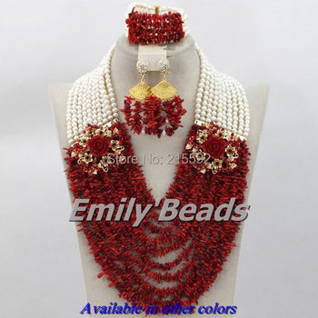 African Red Coral Beads Jewelry Set 10 Layers White Freshwater Pearl Beads Nigerian Wedding Jewelry Set Free Shipping CJ187