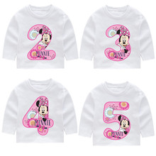 2-14 Years Old,Kids Happy Birthday Number 1~9th Cartoon Mouse Long Sleeve Toddler T-shirts Autumn Boy Girl Tops