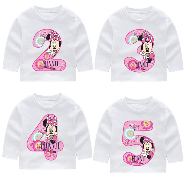 2 14 Years OldKids Happy Birthday Number 19th Cartoon Mouse Long Sleeve Toddler T Shirts Autumn Boy Girl Tops