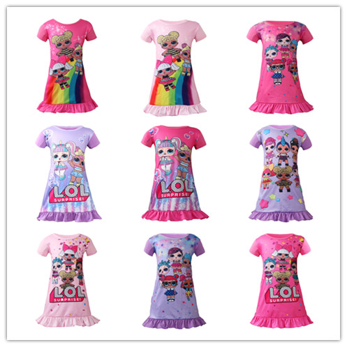 Baby girls Dolls cosplay dress Tops Tee cartoon Print Princess Party Clothing For Kids Girl sleeveless dresses clothes