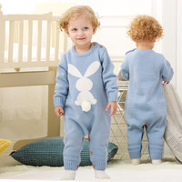 Baby Rompers Spring Rabbit Tail Newborn Sweaters Knit Cotton Full Clothing Set Infant Jumpsuit Toddler Overalls
