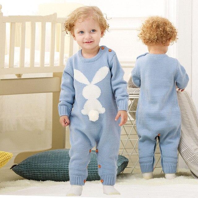 ac78ab14b Bayi Rompers Musim Semi Kelinci Ekor Baru Lahir Sweater Knit Katun ...