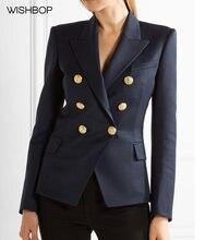 376c84b78cd95 WISHBOP 2017 Autunno Moda Donna di Lusso New Navy Giacca Bottoni D oro Slim  Blazers Anteriore Tasche SZIE S ALLA XXL