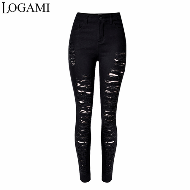 Ripped Jeans For Women Black Ripped Jeans Sexy Distressed Jeans Skinny High Waist Elastic Pencil Denim Trousers