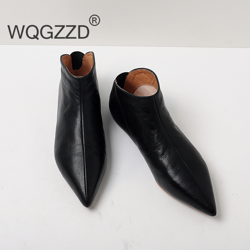 2018 New winter cow leather flat with ankle boots for women casual shoes simple and elegant