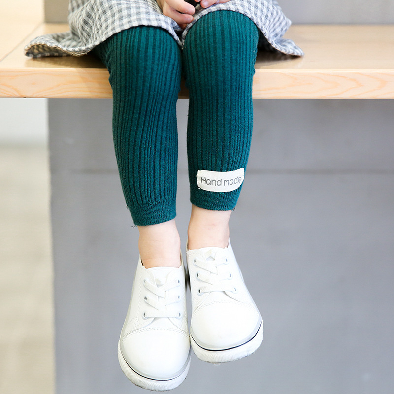 Children Kids Leggings Age 3-8y Cotton Pantyhose Solid Color  Leggins Girls Pants Trousers RENDER Pants Ninth