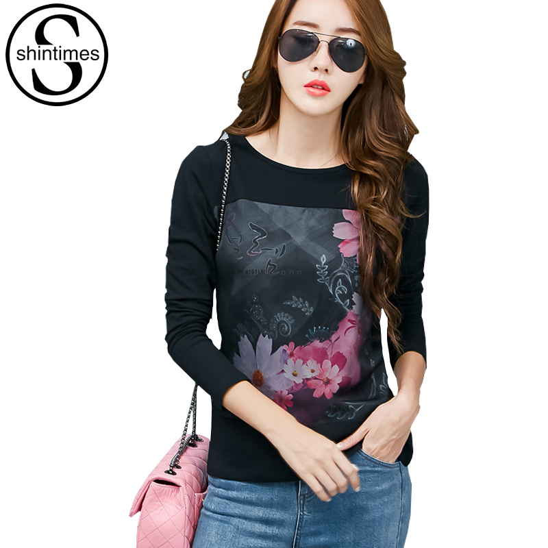 Mesh Print Graphic Tees Dames Kleding 2017 Casual T-shirt Koreaans T-shirt met Lange Mouwen Plus Size Womens Clothing Vetement Femme