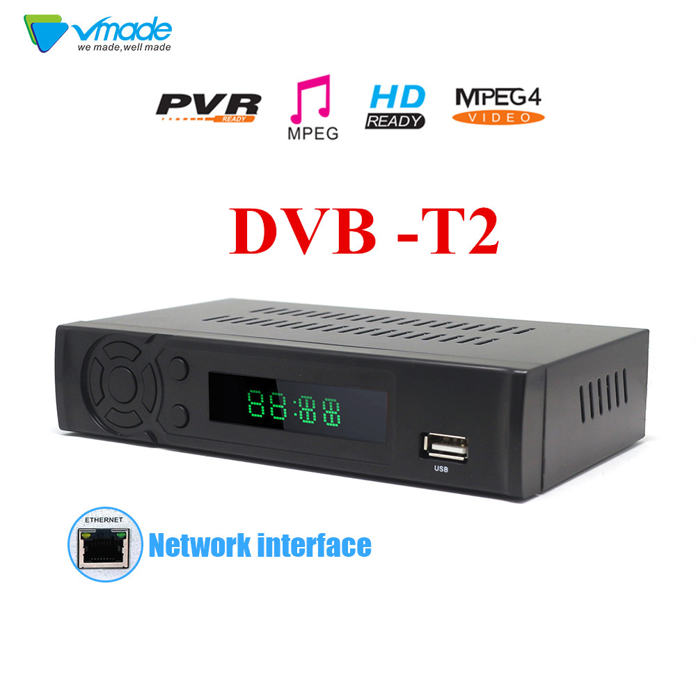 Vmade newest Terrestrial receiver full HD Digital DVB T2 8939 supports H 264 HEVC Wired internet access Set top box Media Play in Satellite TV Receiver from Consumer Electronics