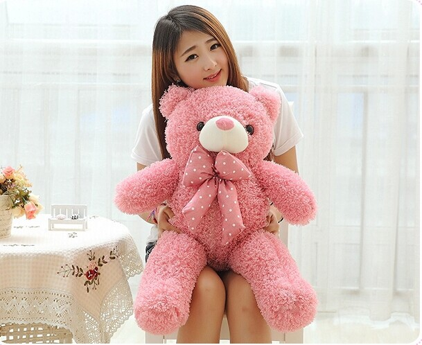 lovely teddy bear doll candy colours pink teddy bear with spots bow plush toy doll birthday gift about 80cm new creative plush bear toy cute lying bow teddy bear doll gift about 50cm