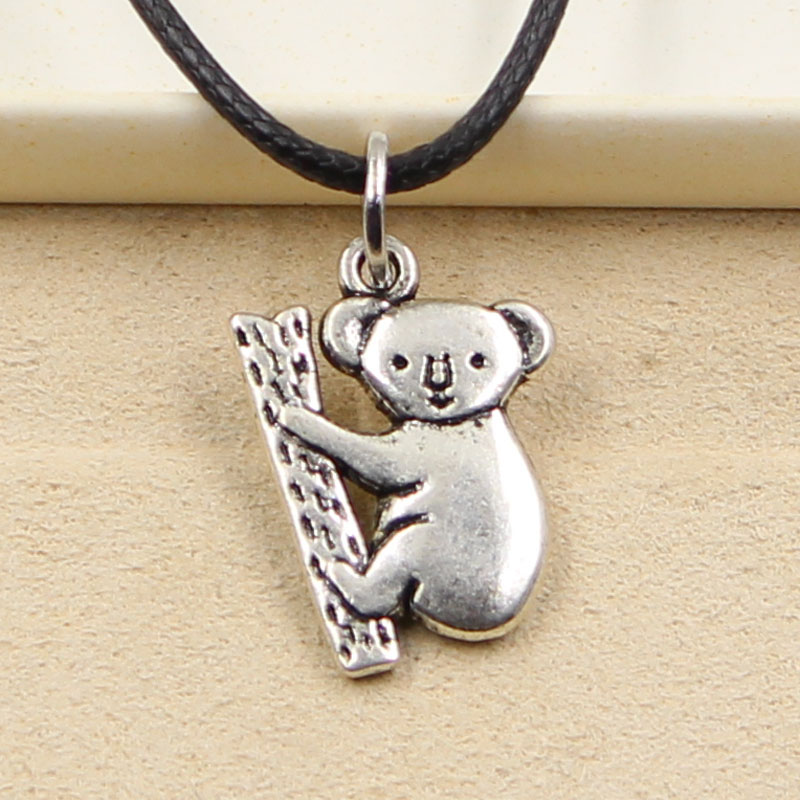 New Durable Black Faux Leather <font><b>Koala</b></font> <font><b>Bear</b></font> Pendant Cord Choker Charm DIY Retro Boho Tibetan Silver Color Necklace <font><b>Jewelry</b></font> image